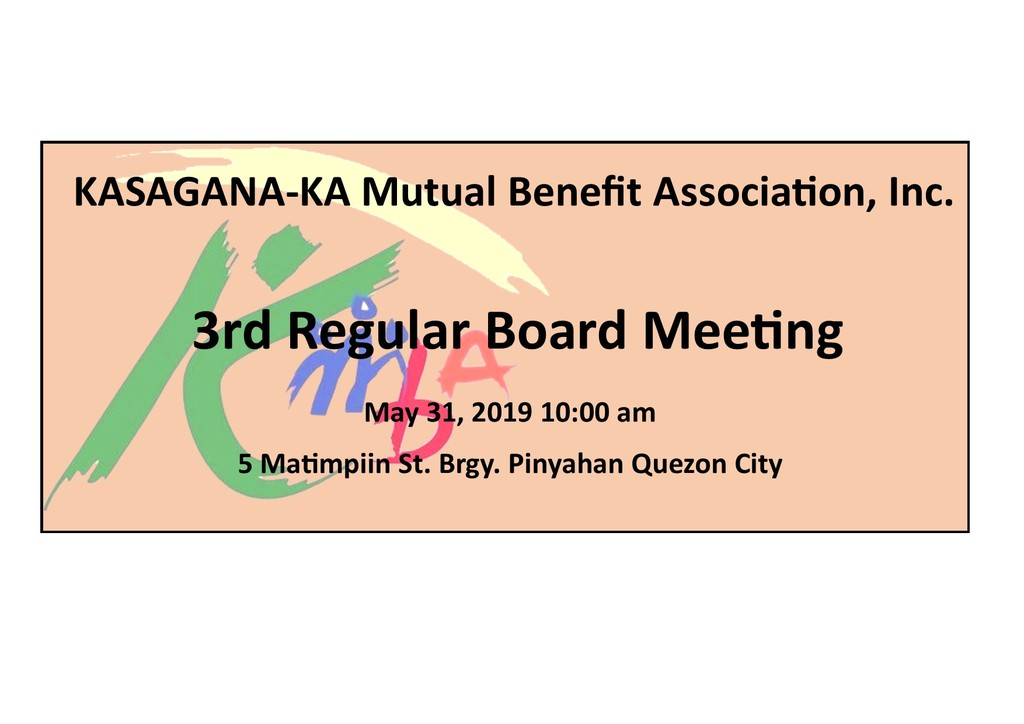Notice of 3rd regular board meeting  05.31.2019